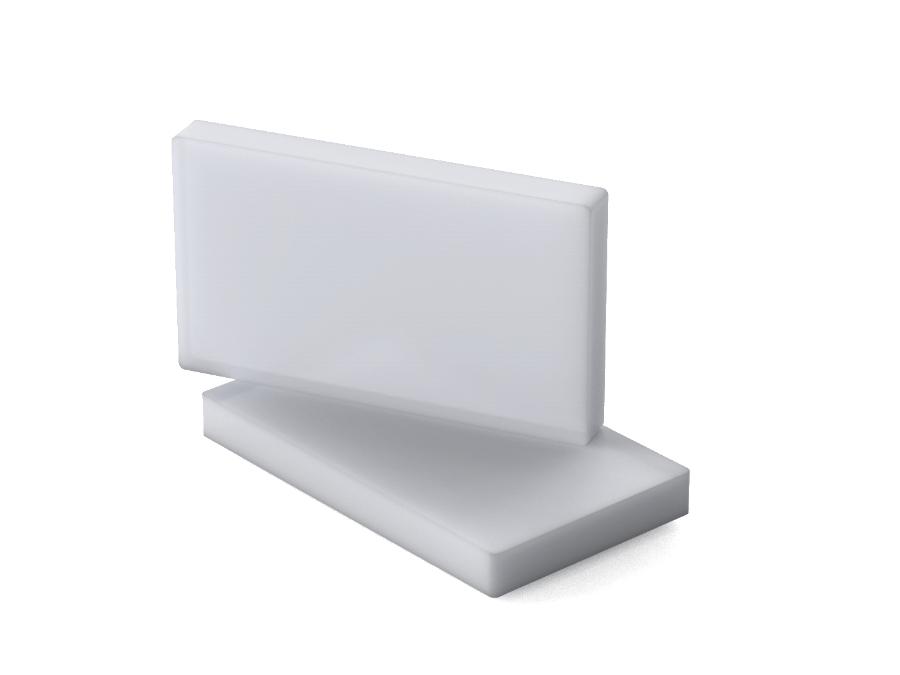 Das Bild zeigt Platten des Materials Plexiglas Satinice df23 8N, ein stark lichtstreuendes Material für Lichtanwendungen